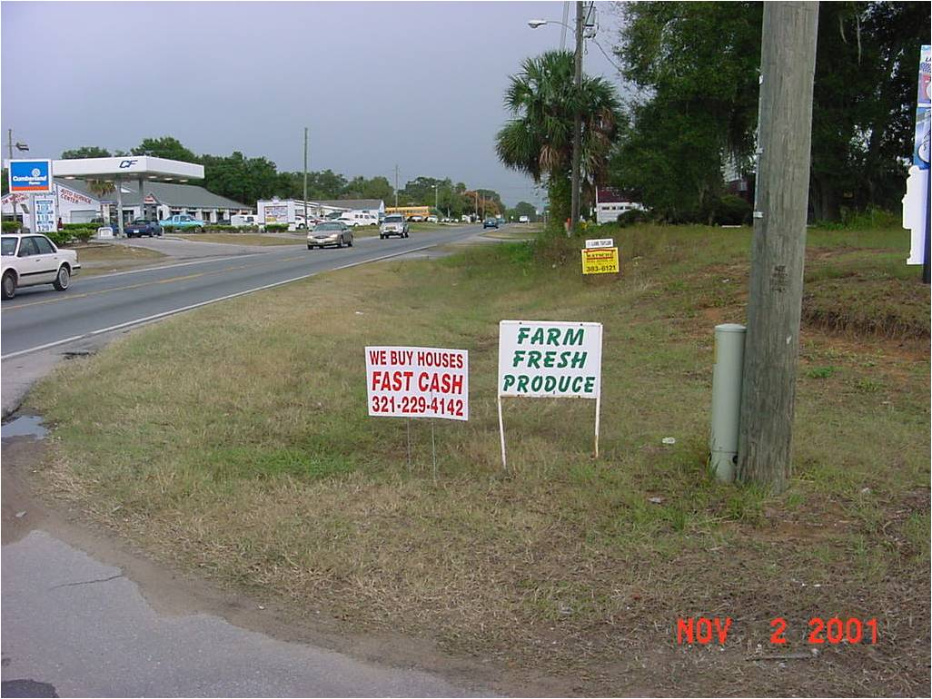 Signs in right of way