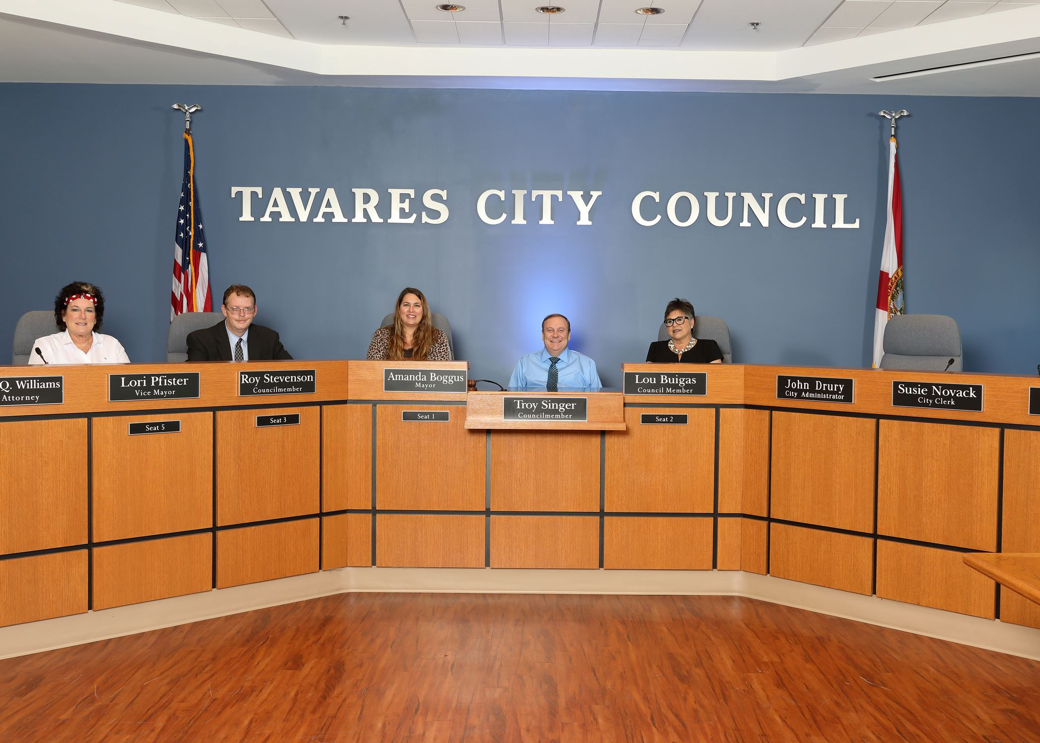Image of Tavares City Council (Left to Right, Lori Pfister, Roy Stevenson, Amanda Boggus, Troy Singe