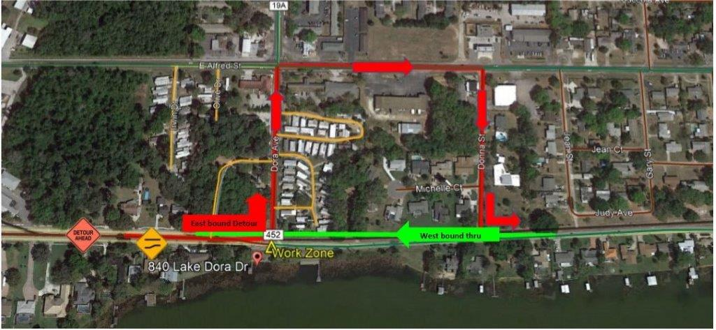 Image of Temp Rd Closure Lake Dora Dr
