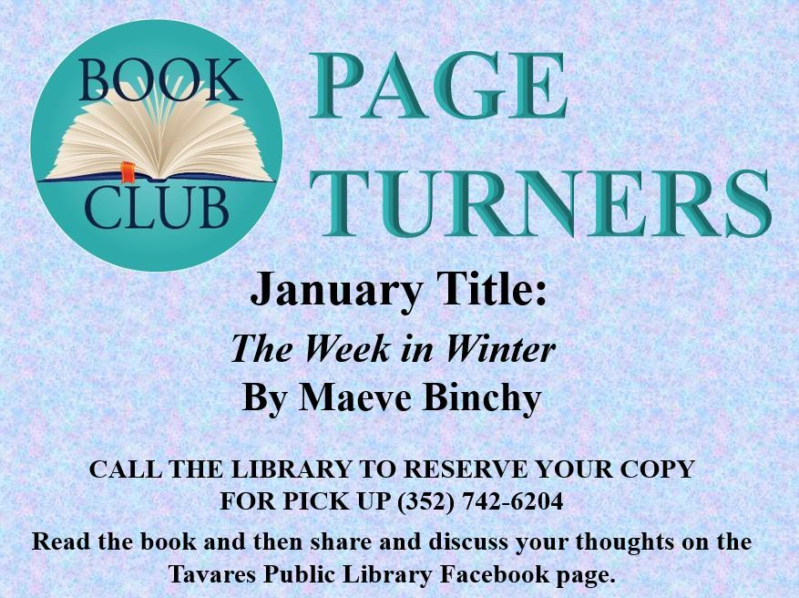 Image of Page Turners Book Club January Selection is A Week in Winter Flyer