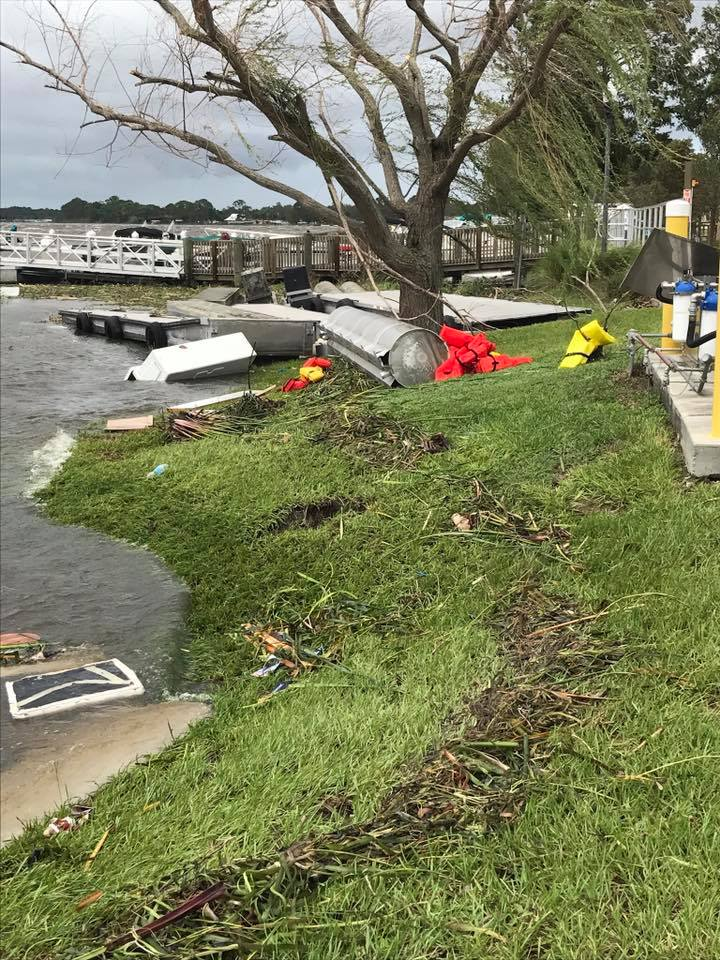 Image of Tavares Marina and Seaplane Base destruction post Hurricane Irma in 2017