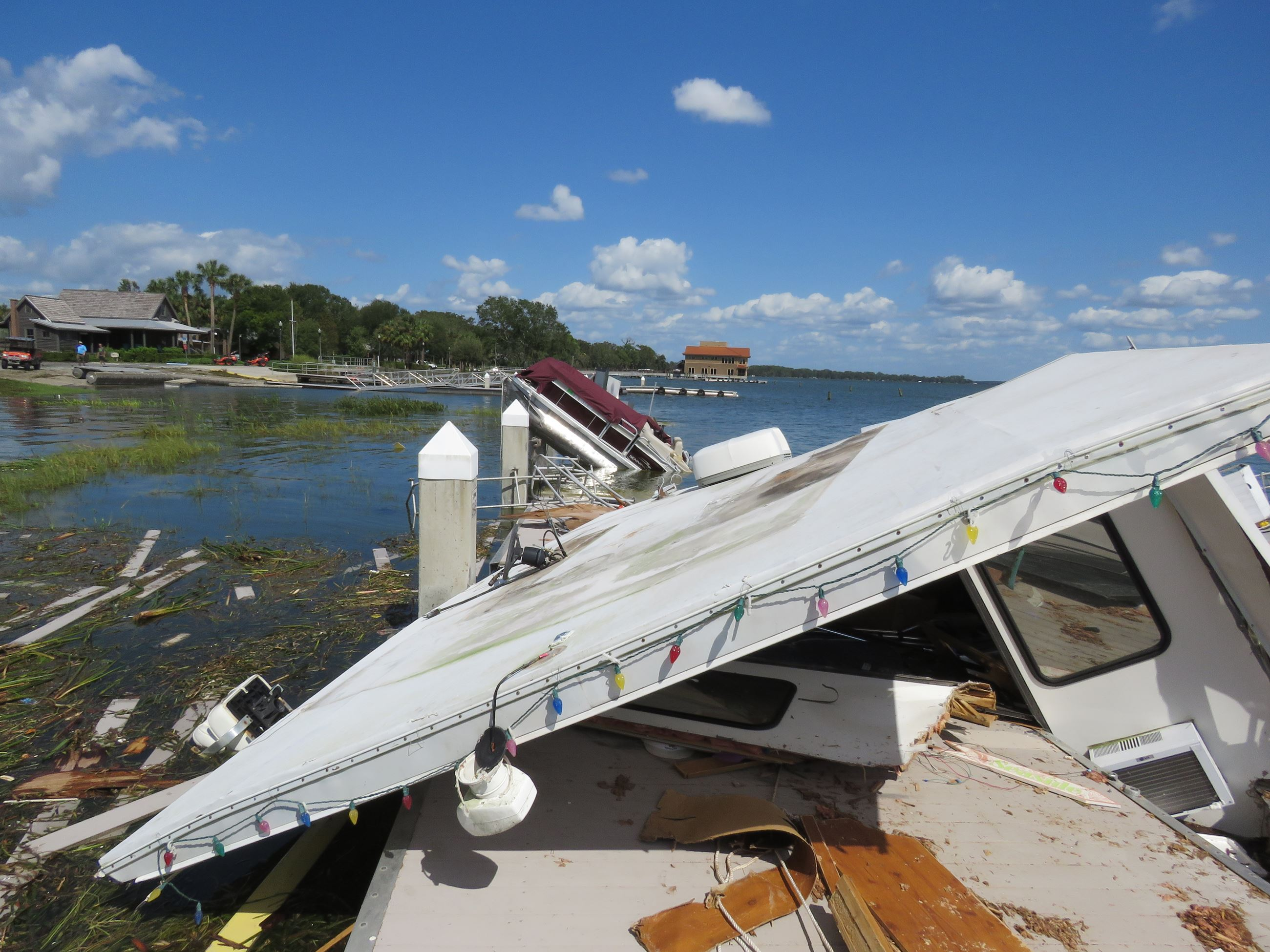Photo of damaged boat docks from Hurricane Irma